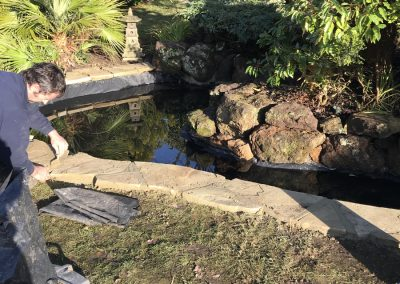 Paving pond renovation west chiltington